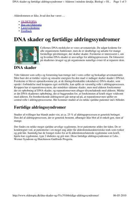 DNA skader og førtidige aldringssyndromer - mbbio