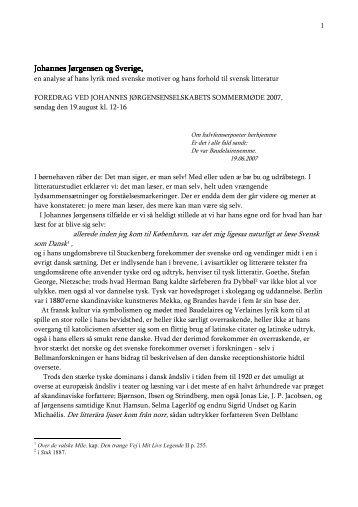Johannes Jørgensen og Sverige, en analyse af hans lyrik med ...