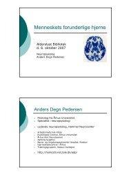Menneskets forunderlige hjerne - Anders Degn Pedersen, specialist ...