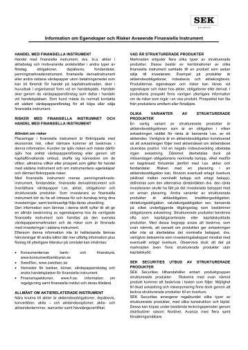 Information om Egenskaper och Risker Avseende Finansiella ...