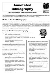 Annotated Bibliography - The Learning Centre - The University of ...