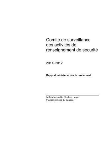 Rapport ministériel sur le rendement 2011-2012 - Comité de ...