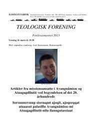 TEOLOGISK FORENING Forårssemestret 2013 - Ilisimatusarfik