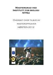 Mastergrad ved Institutt for biologi NTNU