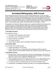 Annotated Bibliography: APA Format - University of New Brunswick