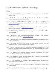 List of Publications – Professor Torben Bager - Idea