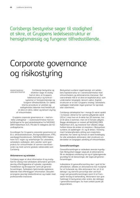 Corporate governance og risikostyring - Carlsberg Group