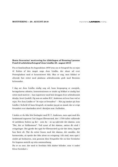 motivering for tildelingen (PDF) - Henning Larsen Architects