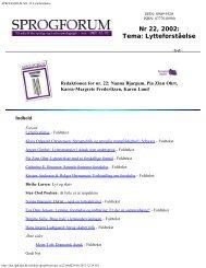 SPROGFORUM NO. 22 Lytteforståelse - Aarhus University Library ...
