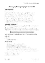 Sannsynlighetsregning og kombinatorikk Introduksjon