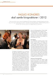 FAGLIG KONGRES skal samle kiropraktorer i 2012 - Dansk ...