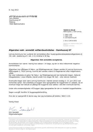Afgørelse vedr. anmeldt velfærdsudvidelse ... - Lemvig Kommune