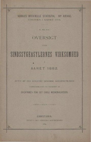 Oversigt over Sindsygeasylernes Virksomhed i Aaret 1882