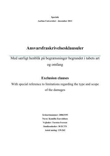Kamilla Enevoldsen: Ansvarsfraskrivelsesklasuler ... - it-kontraktret.dk