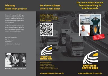 Arbeitgeberflyer Downloaden - Speditionsservice Nord
