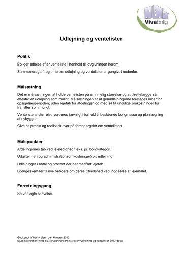 Udlejning og ventelister - Vivabolig hjemmeside