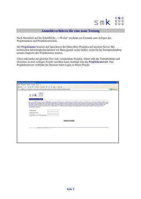 Anmeldeverfahren für eine neue Testung