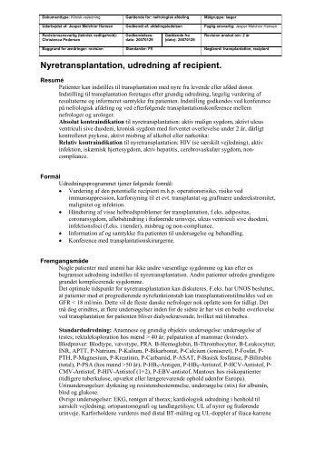 Nyretransplantation, udredning af recipient. - Dansk Nefrologisk ...