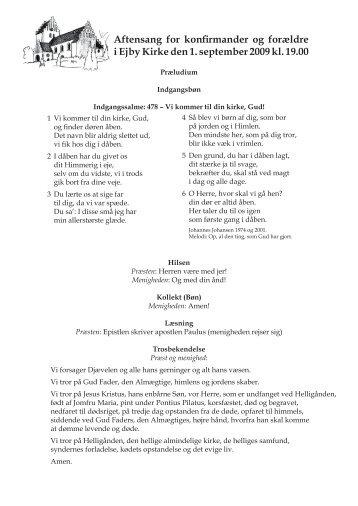Aftensang for konfirmander og forældre i Ejby Kirke den 1 ...