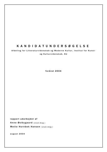 Afdelingen for Litteraturvidenskab og Moderne Kultur - Københavns ...