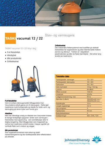 Produktblad Taski Vacumat 12 vann - nonfood.no