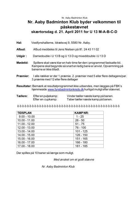 Nr. Aaby Badminton Klub byder velkommen til påskestævnet