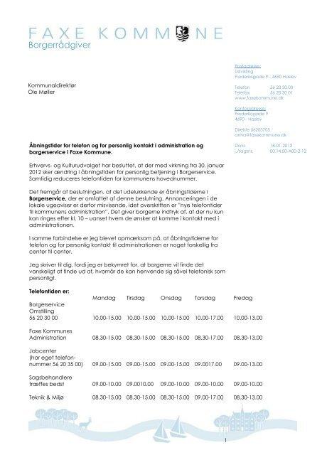 Nye åbningstider i borgerservice - Faxe Kommune