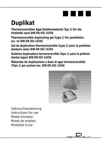 Duplikat Gebrauchsanweisung - DENTAURUM