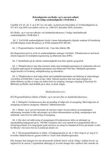 Udkast til bekendtgørelse om Radio- og tv-nævnets udbud af ... - slrtv