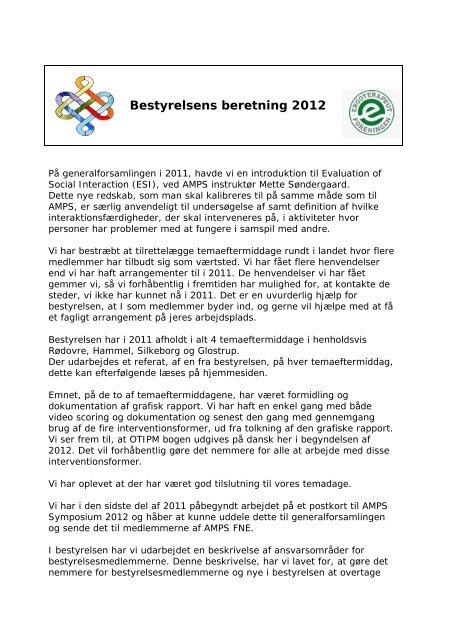 Bestyrelsens beretning 2012