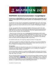 Pressemeddelelse MIAPRISEN 2012 udskrives