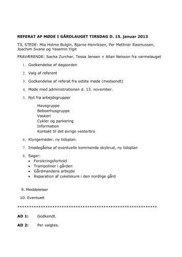 Bestyrelsesmøde januar 2013 - hestestalden.net