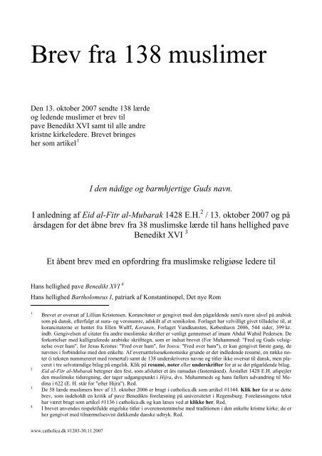 Læs brevet fra de 138 lærde muslimer - Haderslev Stift