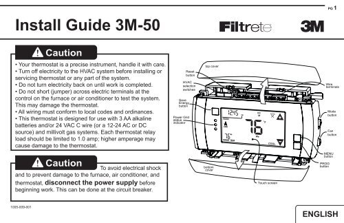 Install Guide 3m 50 Caution Radio Thermostat