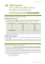 Tarifs sociaux : Tarif de Première Nécessité et Tarif ... - Energie info