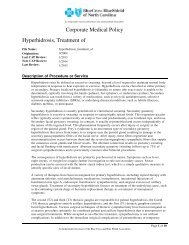 Hyperhidrosis Treatment Of - Blue Cross and Blue Shield of North ...