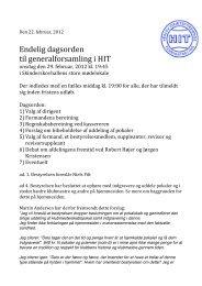 Endelig dagsorden til generalforsamling i HIT den 29. februar 2012
