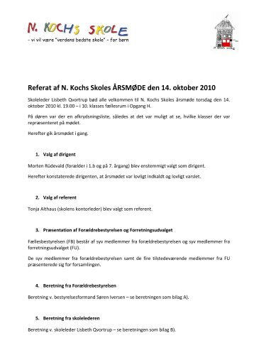 Referat af N. Kochs Skoles ÅRSMØDE den 14. oktober 2010