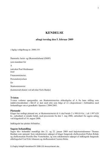 Sag nr. FV 2008.155 Thomas Rørdam - Arbejdsretten