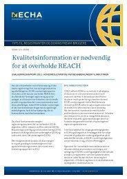 Kvalitetsinformation er nødvendig for at overholde ... - ECHA - Europa