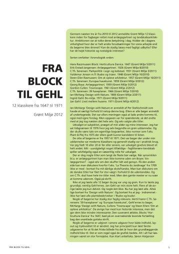 FRA BLOCK TIL GEHL - Grønt Miljø