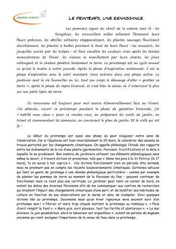 LE PRINTEMPS, UNE RENAISSANCE… Les ... - Jardins vivants