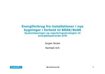 Energiforbrug fra installationer i nye bygninger i forhold til BR08/Be06