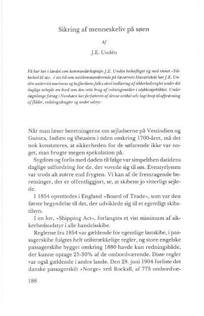 J. E. Undén: Sikring af menneskeliv på søen, s. 188-219