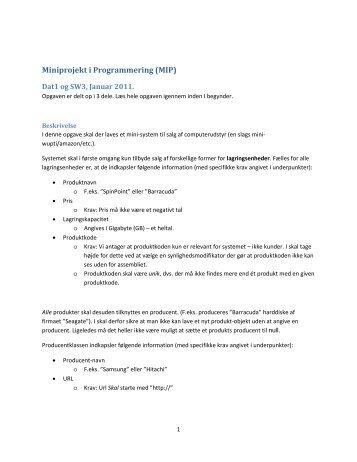 Miniprojekt i Programmering (MIP)