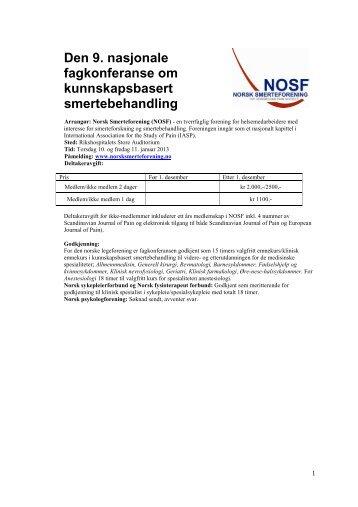 NOSF_program_2013_hjemmeside 3 versjon - Norsk smerteforening