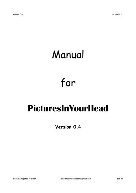 Manual for - PicturesInYourHead