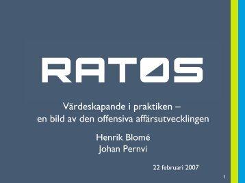 Aktivt ägande i praktiken - Jakten på tillväxt och vinst - Ratos