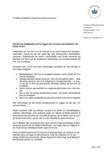 Følgebrev til LBR fra Beskæftigelsesregion Syddanmark ang ...