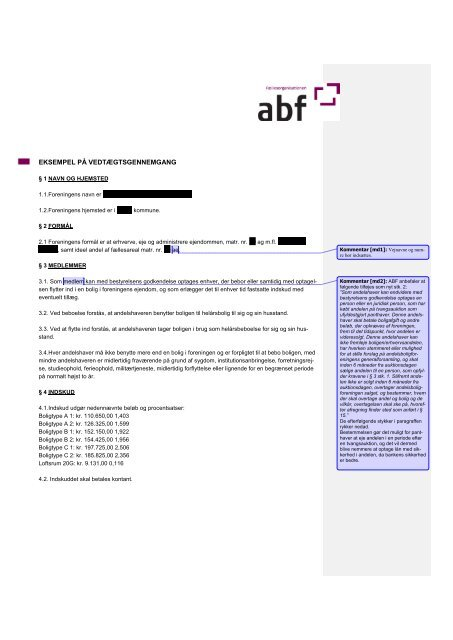Eksempel på 'kommenteret vedtægtsgennemgang' - ABF